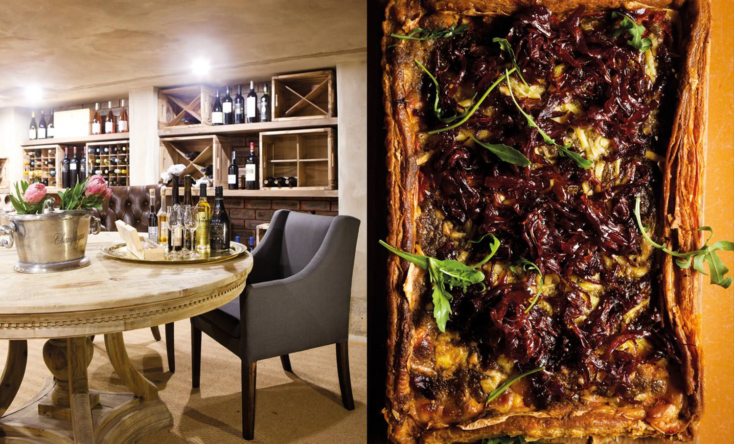 A caramelised onion tart made by Rai-Teree Dass and Cara Conway for sale in the outlet; the wine cellar is located under the house and contains Jackie's collection – guests will be able to store their wine there under lock and key.