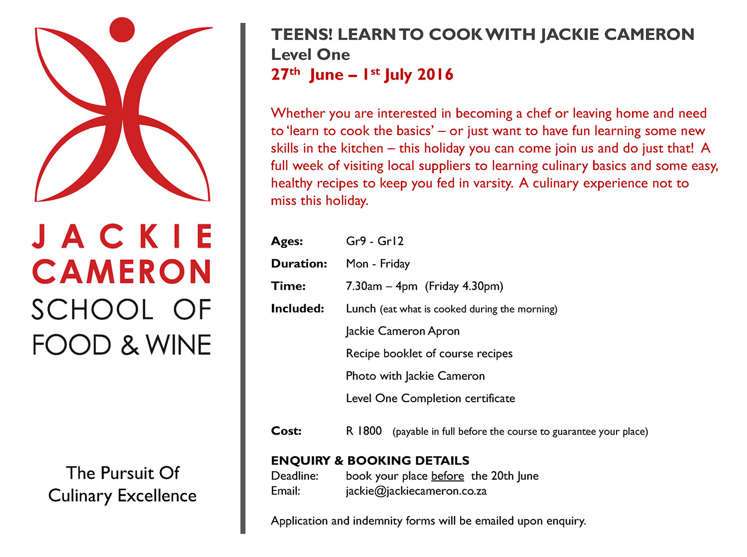 Click To Enlarge:   Teens! Learn to Cook with Jackie Cameron - Level One