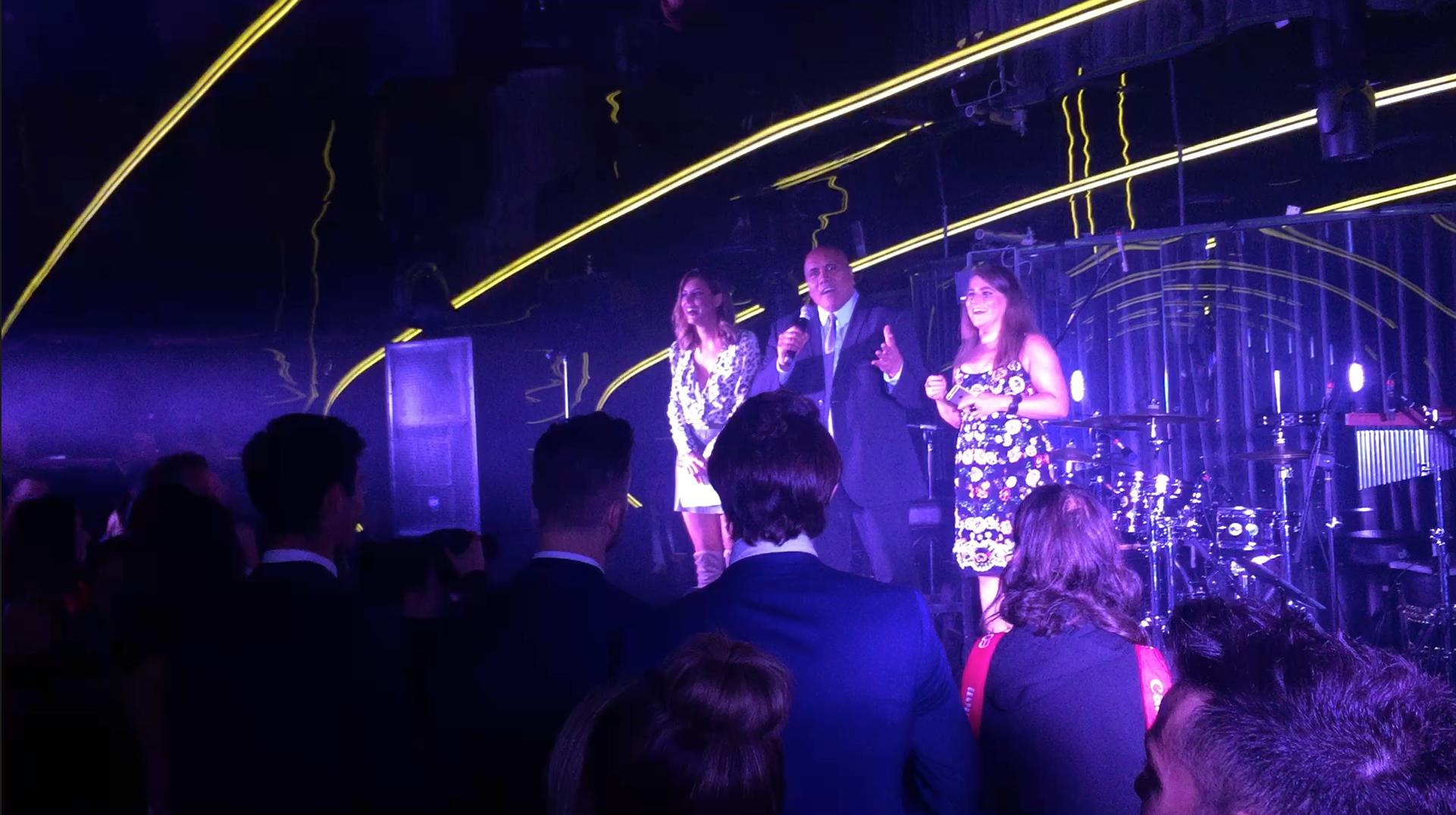 MC Lauren Phillips with Confidential's Nui Te Koha and Jackie Epstein