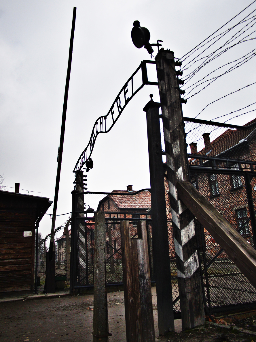 "Work Makes Free - the gates that lead into Auschwitz Concentration Camp. This is the location where Hitler's ""Final Solution"" was put into action."