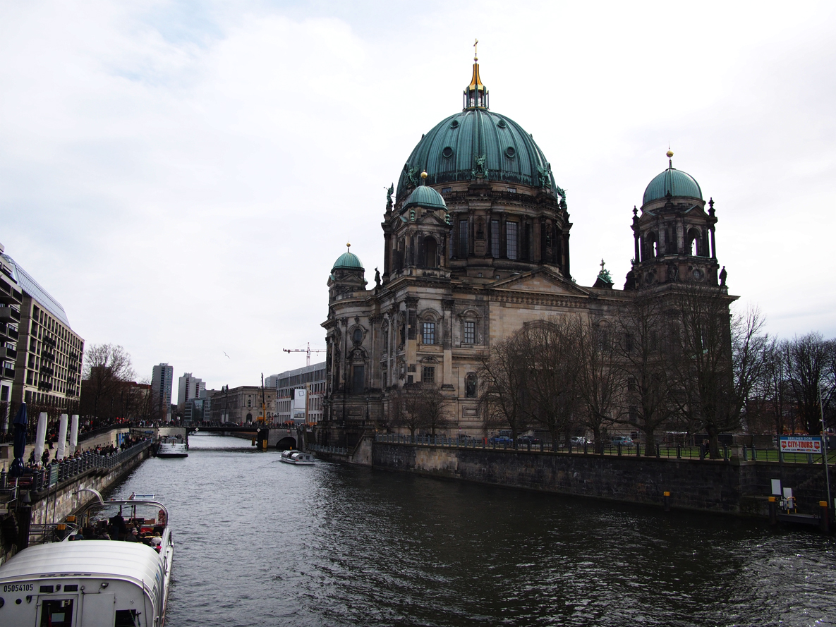 Berlin Cathedral along the banks of the Spree river.