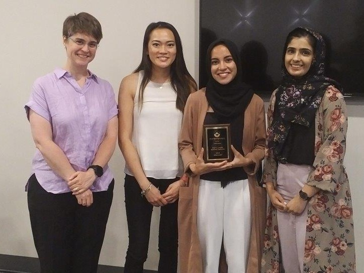 Allison Barrett of GHD with the 2019 Paul G. Complin Scholarship Recipients  Amanda Lim (University of Waterloo), Anum Khan (Ryerson University), and Reeda Mahmood (Ryerson University)