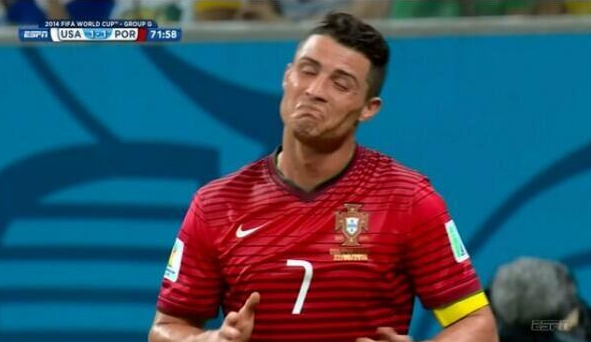 ronaldo questioning whether or not he was offsides...