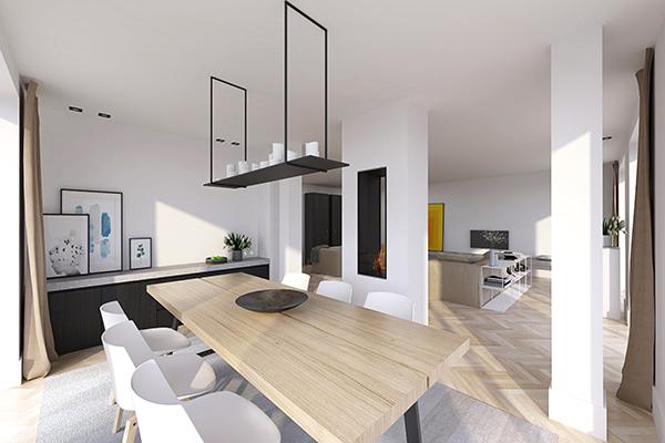 NOMAA den haag leidscheveen verbouwing uitbouw zelfbouw kavel interieur architect eetkamer woonkamer stijlvol wonen luxe modern landelijk strak warm licht ruimtelijk visgraat zwart wit_3.jpg