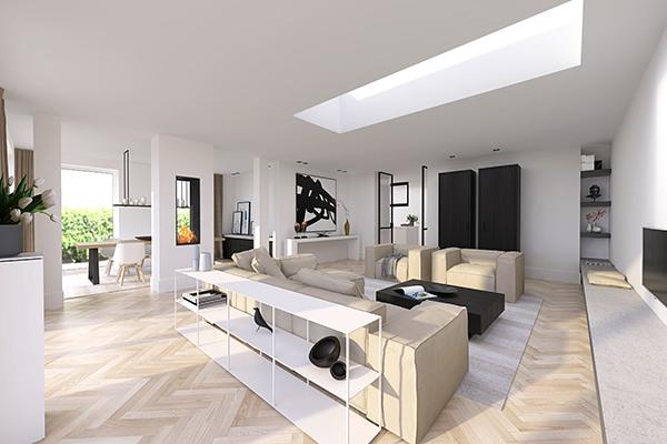 NOMAA den haag leidscheveen verbouwing uitbouw zelfbouw kavel interieur architect woonkamer stijlvol wonen luxe modern landelijk strak warm licht ruimtelijk visgraat zwart wit_1.jpg