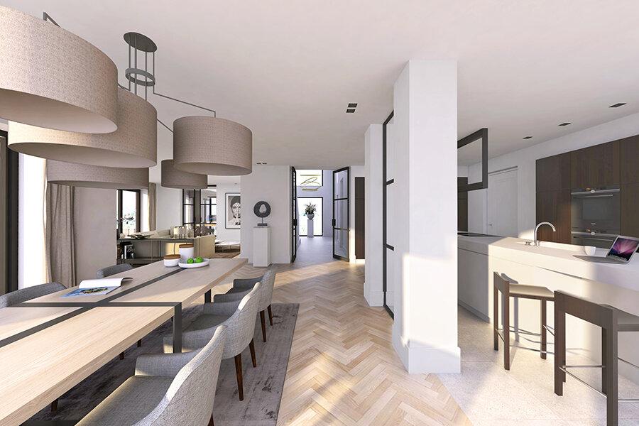 NOMAA interieur luxe strak landelijk modern eigentijds wit licht houten vloer visgraat donkere stalen kozijnen architect ontwerper stijlvol wonen 2.jpg