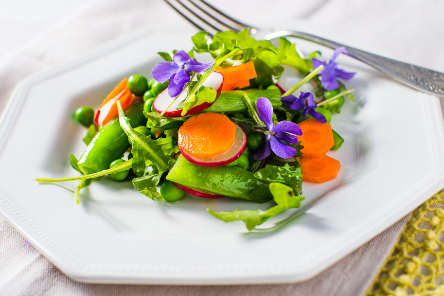 Try some edible flowers for an interesting and colorful garnish.