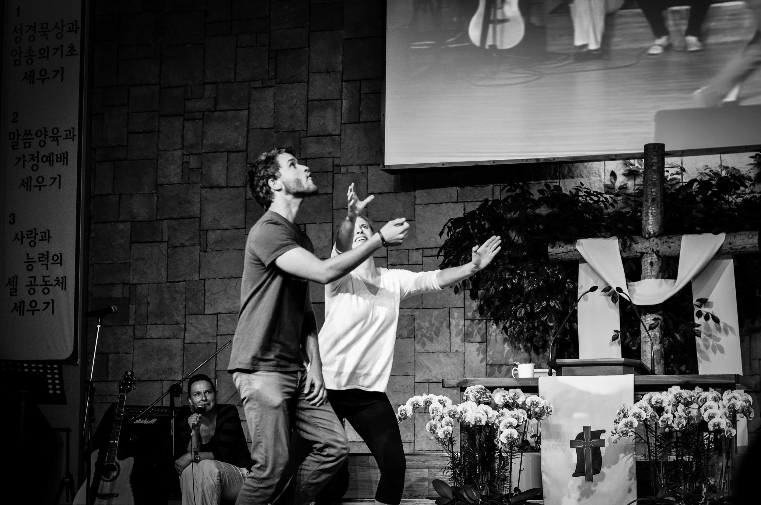 Performing an evangelism drama and preaching after in a Korea church. Seoul, South Korea.