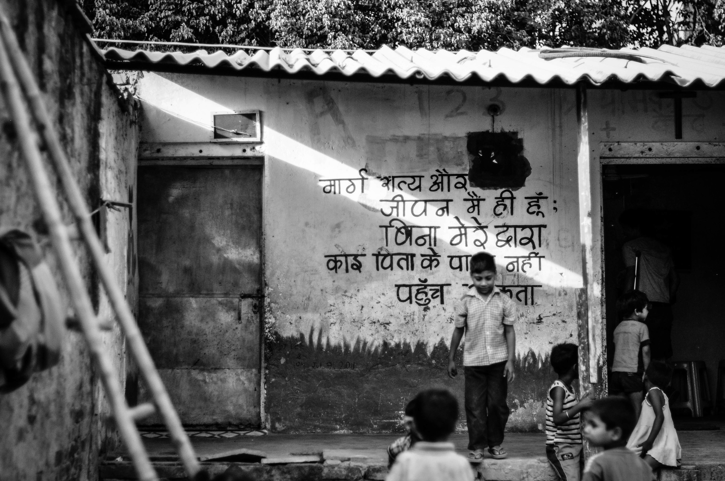 Preschool. We worked in here every day. Jasola Slum, India.