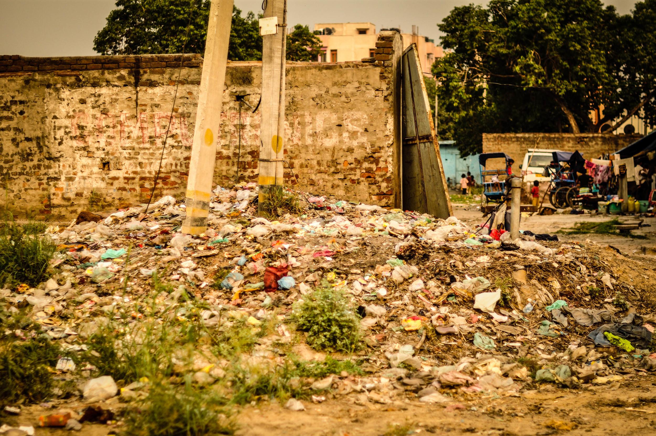 Entrance to Jasola Slum, India.