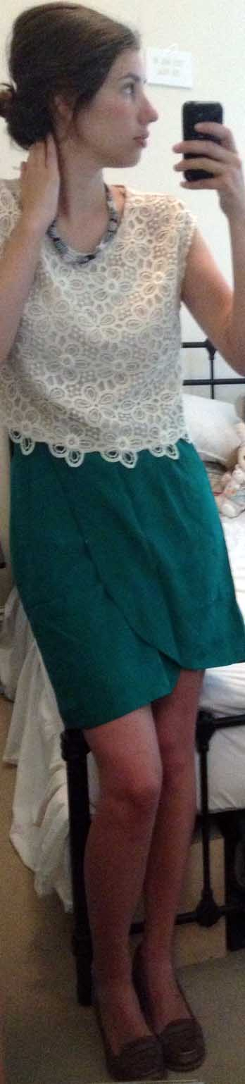 Green Silk Wrap Skirt ,  Cream Lace Shell ,  Brown Loafers