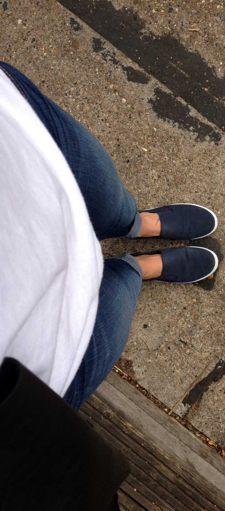 White T-Shirt ,  Skinny Jeans ,  Navy Slip-On Trainers