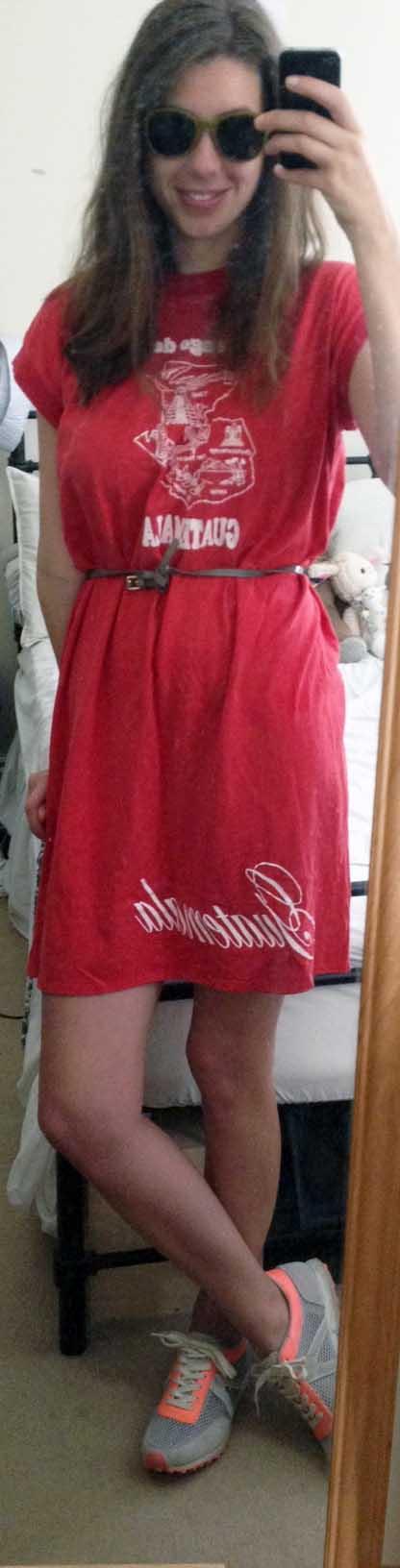 Neon Sneakers ,  Cat-Eye Sunglasses , Vintage Red T-Shirt Dress
