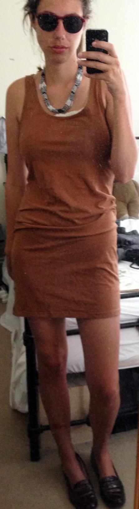 Black + White Statement Necklace ,  Brown Round Sunglasses ,  L.K.Bennett Loafers , Nude Cotton Slip Dress