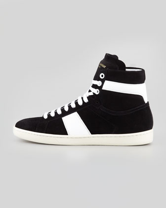 Saint Laurent Bicolor Suede High-Top Sneaker / Second Floor Flat