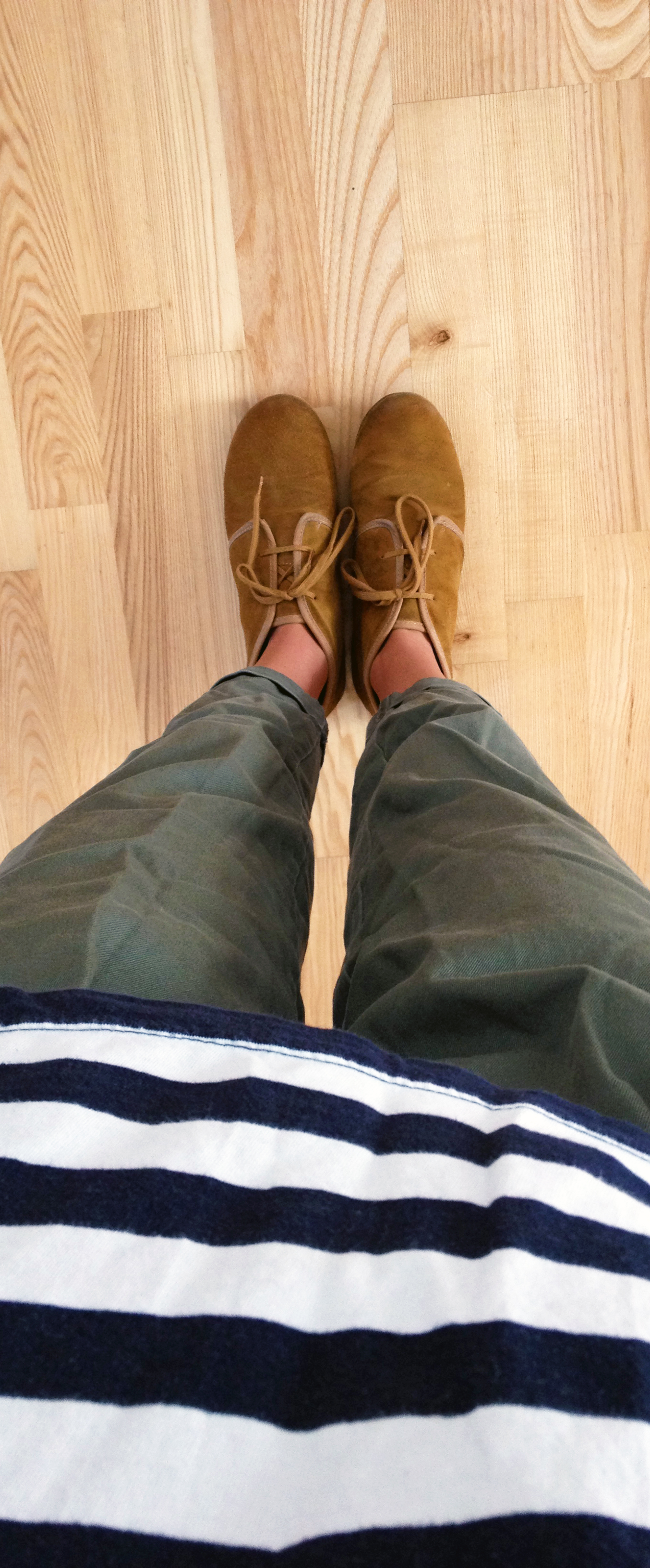 BC Footwear Suede Desert Boots , Army Green Cropped Trousers ,  Vintage Striped T-Shirt