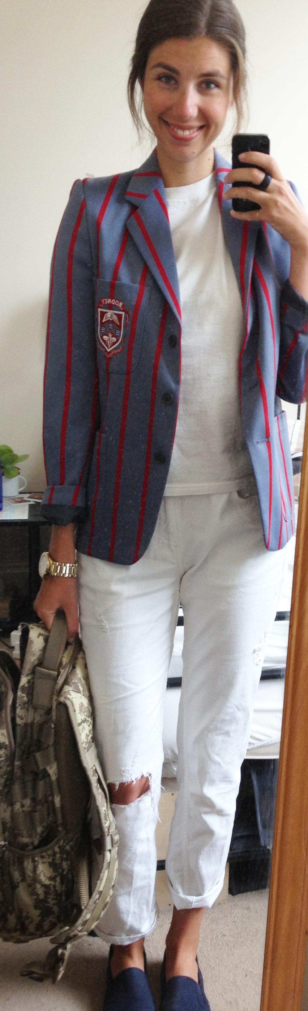 White Boyfriend Jeans , Hanes White T-Shirt ,  Camo Backpack ,  Navy Slip-On Trainers , Vintage Striped Blazer