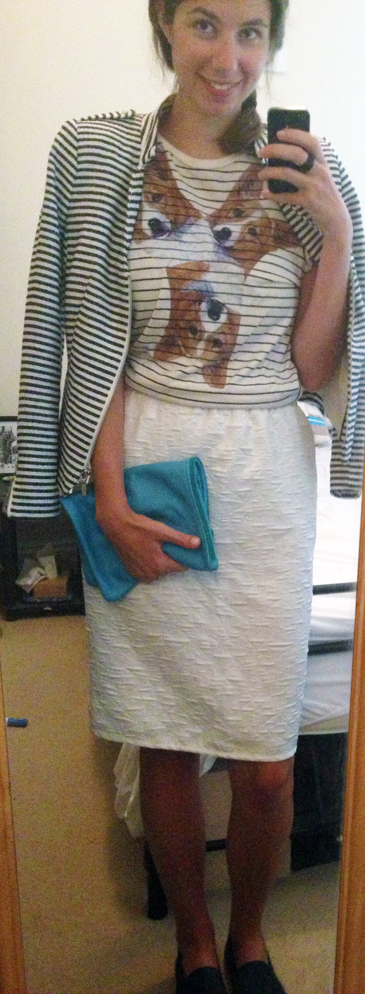 Wowch Corgi Tee ,  White Pencil Skirt ,  Striped Jacket ,  Navy Slip-On Shoes ,  American Apparel Leather Pouch