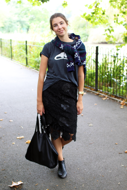 Marais USA Black Chelsea Boots , Black Leather Handbag, Lace Pencil Skirt, Vintage Fair Isle Cardigan, Homemade Dino T-Shirt