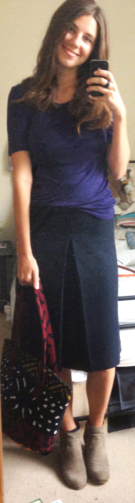 Navy T-Shirt ,  Navy Knee-Length Skirt ,  Dolce Vita Suede Booties , Vintage Bag