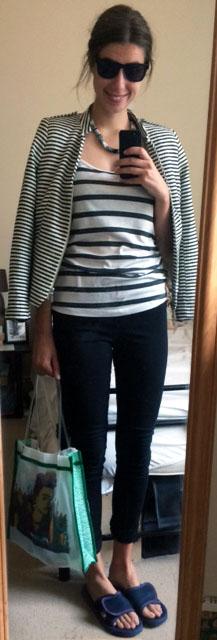 H&M Striped Jacket, H&M Black Pants, Striped Tank, Market Bag, Navy Slide-Ons