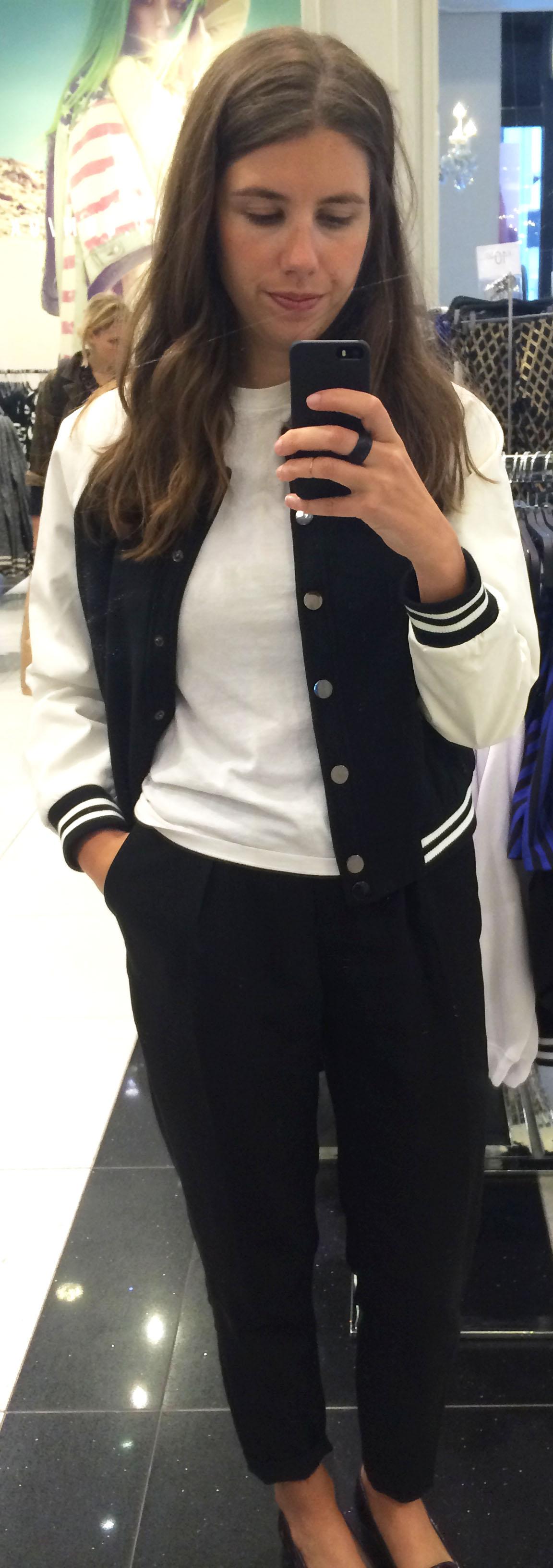 Varsity Jacket ,  Hanes White T-Shirt , Black Trousers