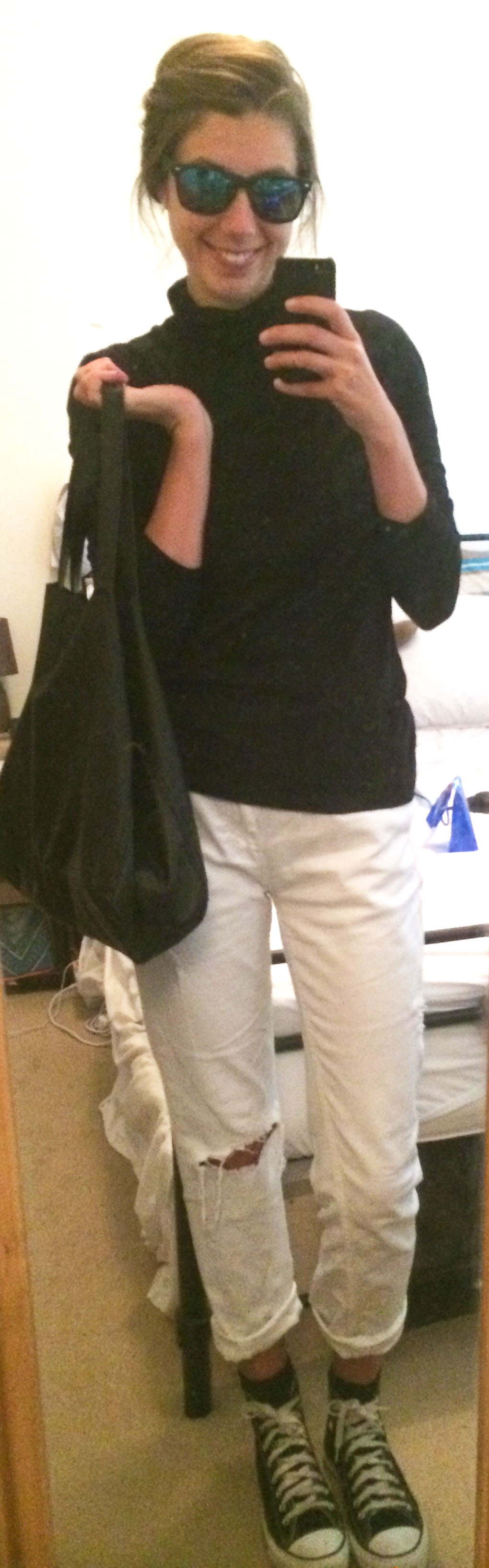 White Boyfriend Jeans ,  Black Converse,  Black Tote ,  Mirrored Sunglasses , $2 Discount Store Turtleneck