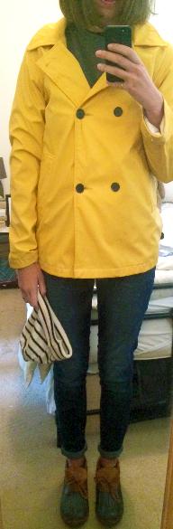 Yellow Raincoat ,  Skinny Jeans ,  L.L. Bean Rubber Moc s,  Saint James Striped Beanie