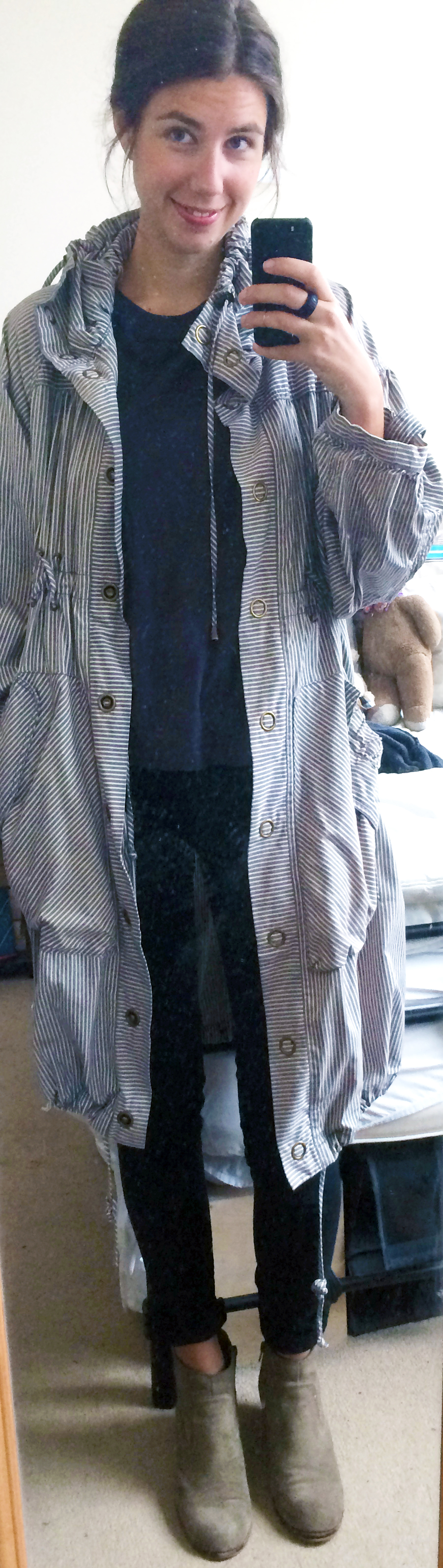 H&M Parachute Jacket,  Black Skinny Trousers ,  Grey T-Shirt ,  Suede Booties