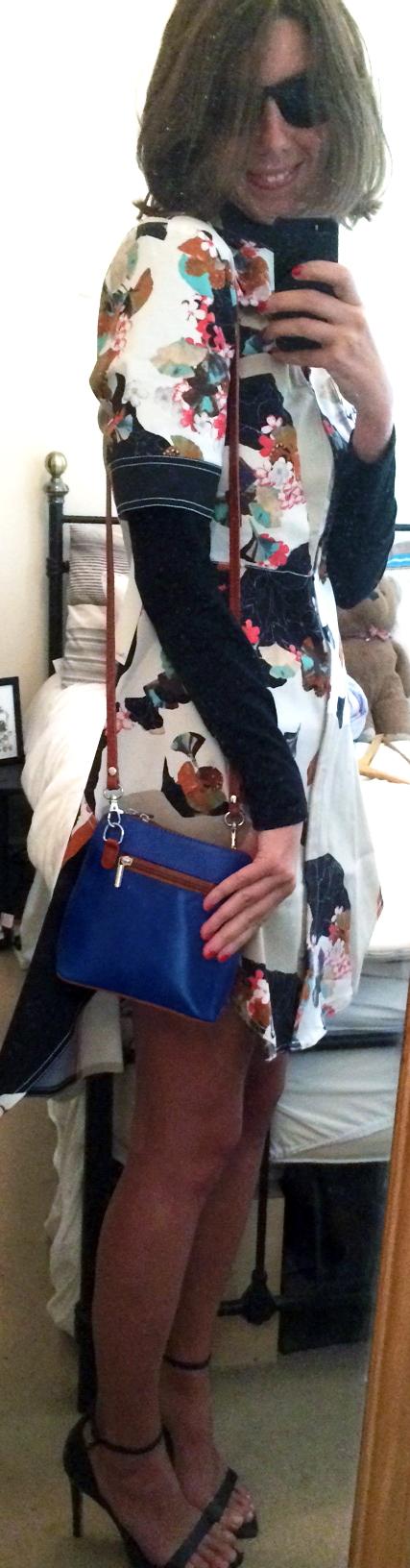 Phillip Lim for Target dress, ZARA Heels, $2Black Turtleneck, Blue   Crossbody Bag ,  Black Sunglasses