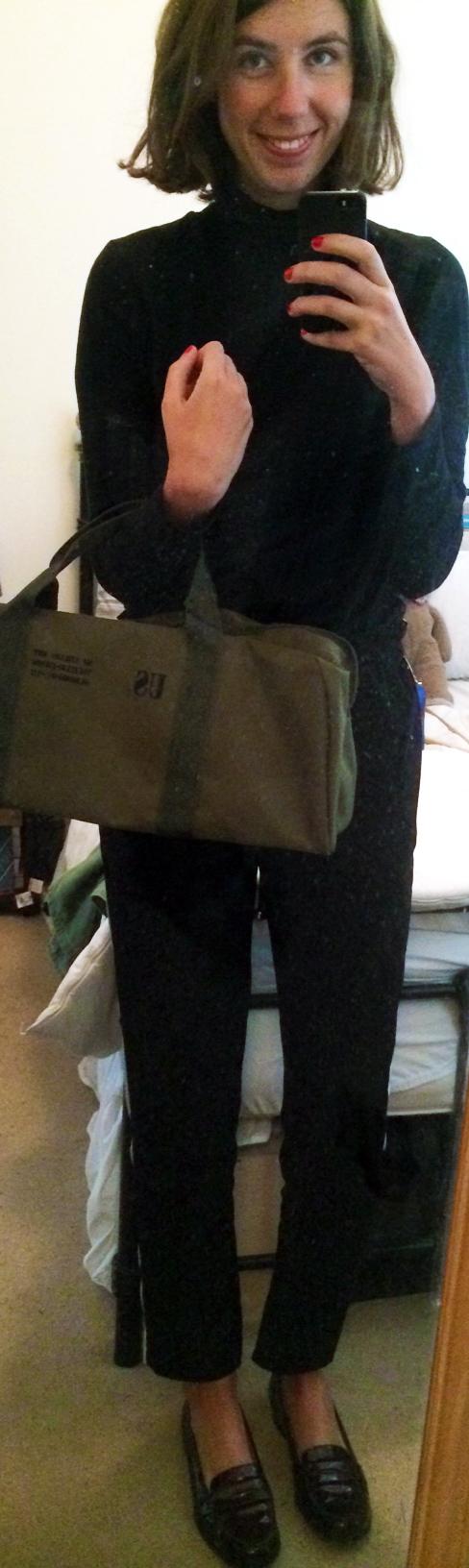 Cropped Black Pants ,  L.K.Bennett Loafers ,  Army Holdall Bag , $2 Black Turtleneck