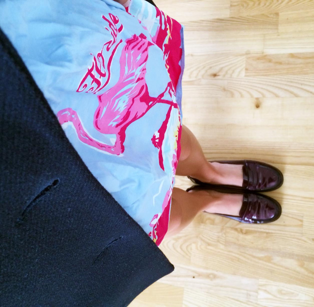 ASOS Florida Dress ,  ZARA Peacoat ,  L.K.Bennett Loafers