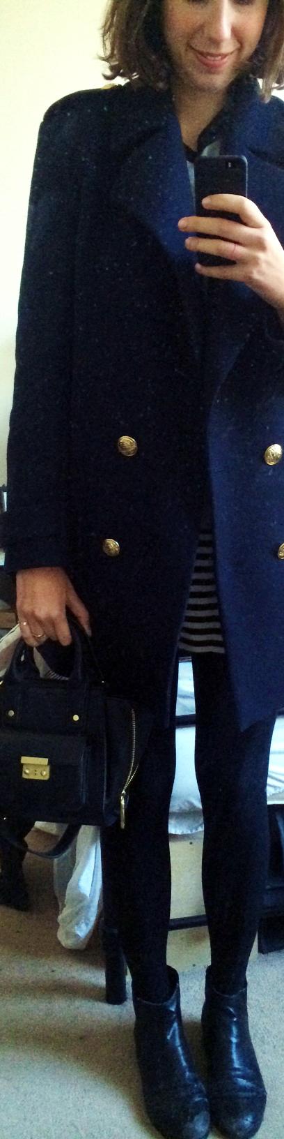 Striped Dress  ,   ZARA Pea Coat  ,   Marais USA Chelsea Boots  , Phillip Lim for Target Mini Satchel