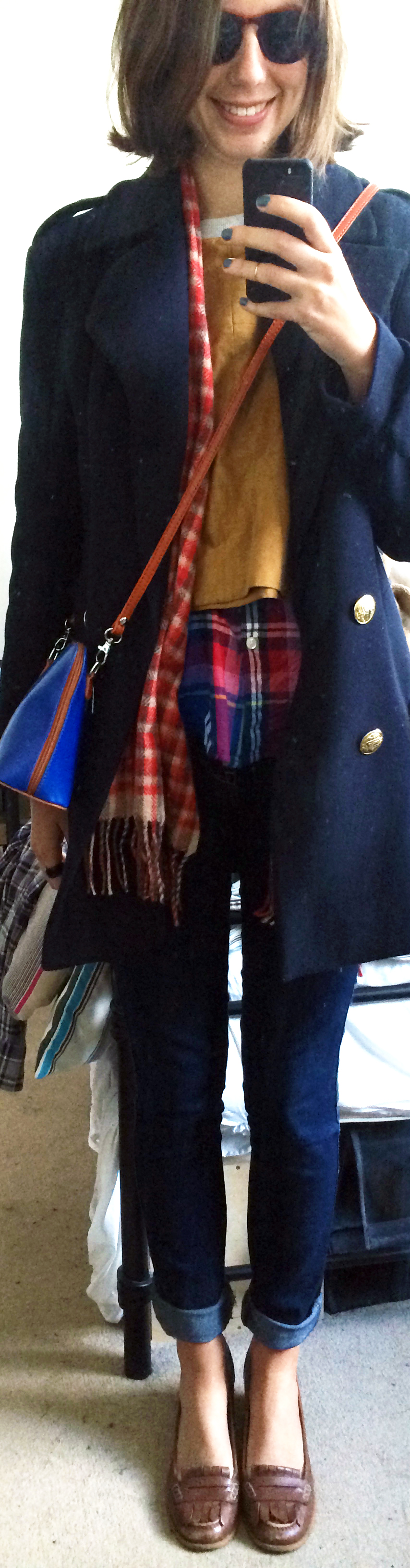 Skinny Jeans ,  Brown Loafers ,  Flannel Button-Down ,  Colorblock Pullover ,  Navy Pea Coat ,  Crossbody Bag
