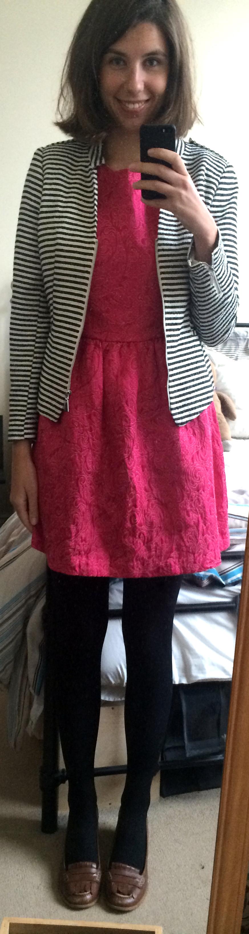 Striped Jacket ,  Pink Shift Dress Dress ,  Brown Heeled Loafers