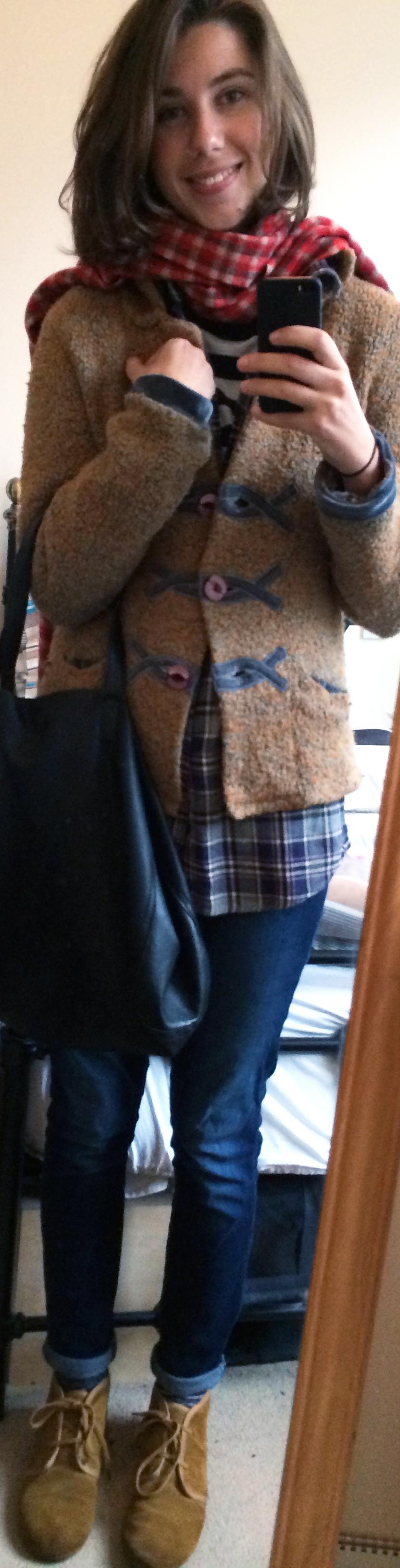 Straight Leg Jeans ,  Flannel Shirt ,  Plaid Scarf ,  Cardigan ,  Desert Boots ,  Black Leather Handbag