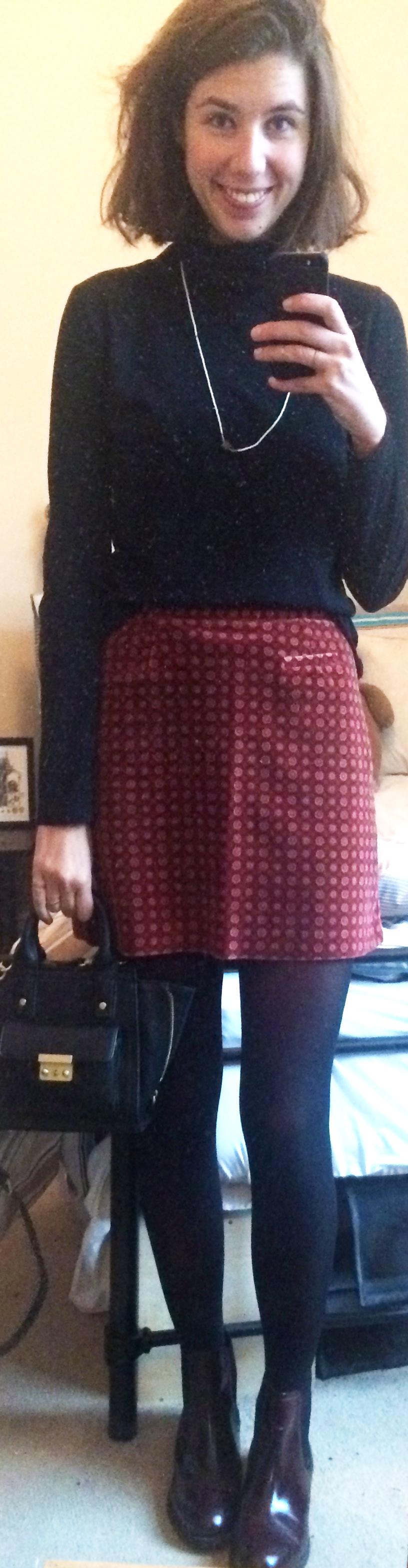 Burgundy Chelsea Boots ,  Black Tights , Phillip Lim for Target Bag,$2 Turtleneck, Thrifted Skirt, Thrifted Necklace