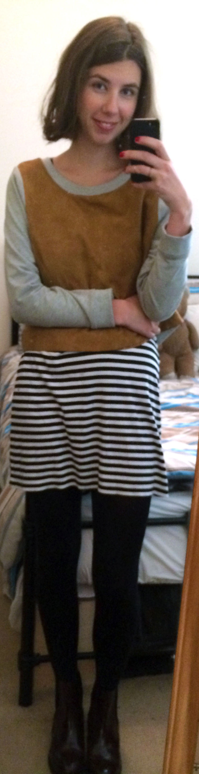 Striped Dress ,  Colorblock Pullover ,  Burgundy Chelsea Boots ,  Nail Polish in Brit Red