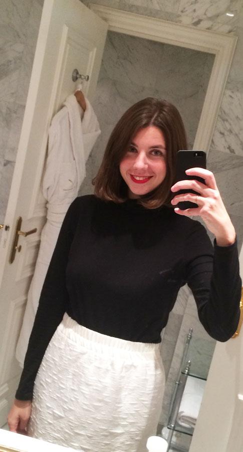 White Skirt ,  Bobbi Brown Old Hollywood Lipstick , standard $2 Black Turtleneck
