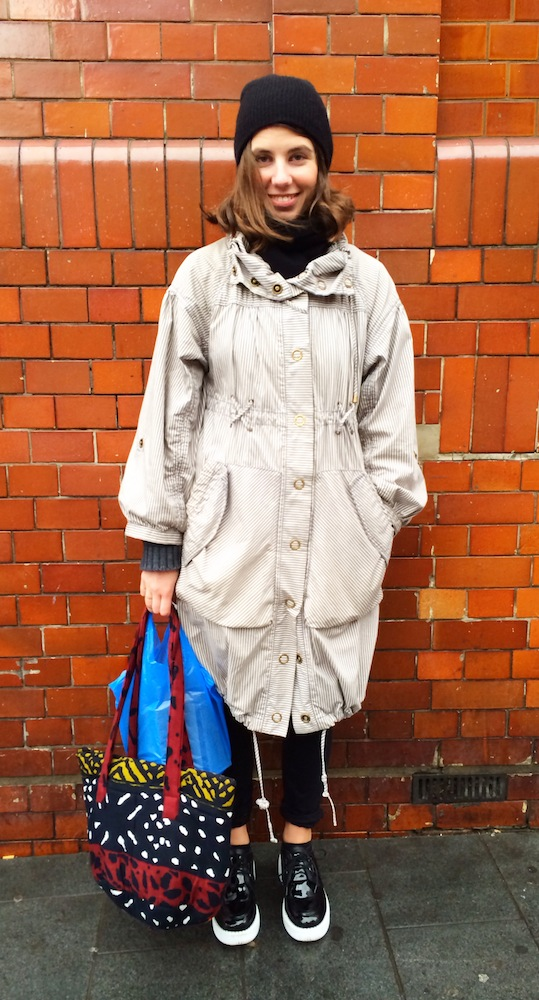 H&M Parachute Coat,  Patent Leather Creepers ,  Black Trousers ,  Traid Handbag