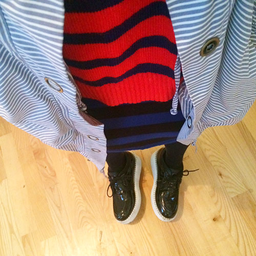 Madewell Striped Sweater, Forever21 Pencil Skirt, H&M Parachute Coat,  Forever21 Patent Leather Creepers