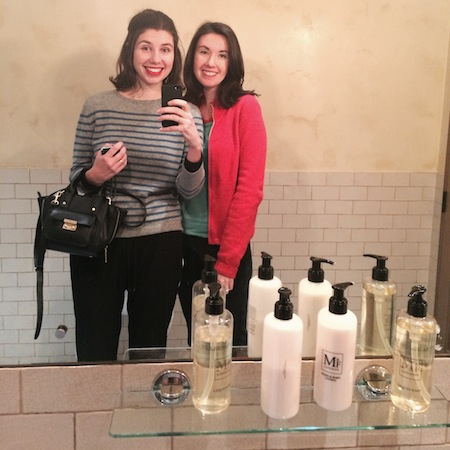 My sister and I, accepting ourselves in a fancy London bathroom