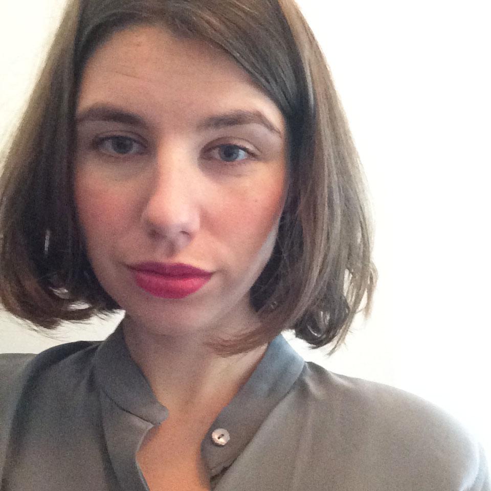 Everlane Silk Blouse in Slate ,  Estee Lauder Color Envy Lipstick