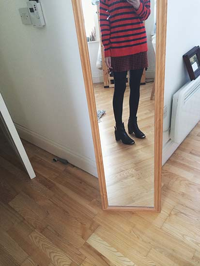 Madewell Striped Sweater, Thrifted Skirt, Dune Ankle Boots
