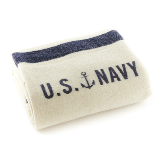 Fairbault Navy Cream Foot Soldier Wool Blanket