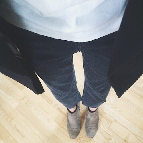 Topshop Jeans ,  And Other Stories White Tee ,  H&M Blazer ,  Dolce Vita Booties