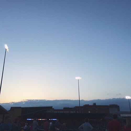 A baseball game at  Durham Bulls Athletic Park