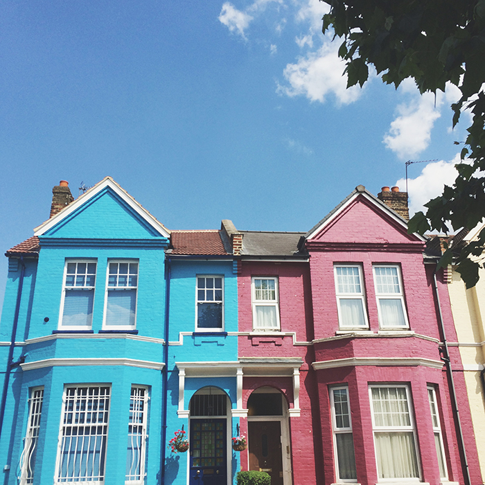colorful terraced houses in Clapton, London