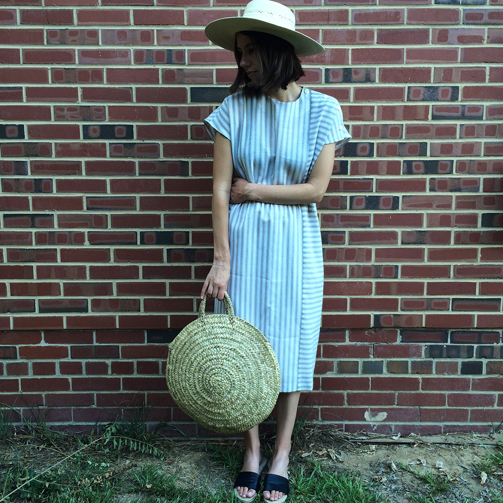 striped dress, straw bag, wide brim hat | Second Floor Flat