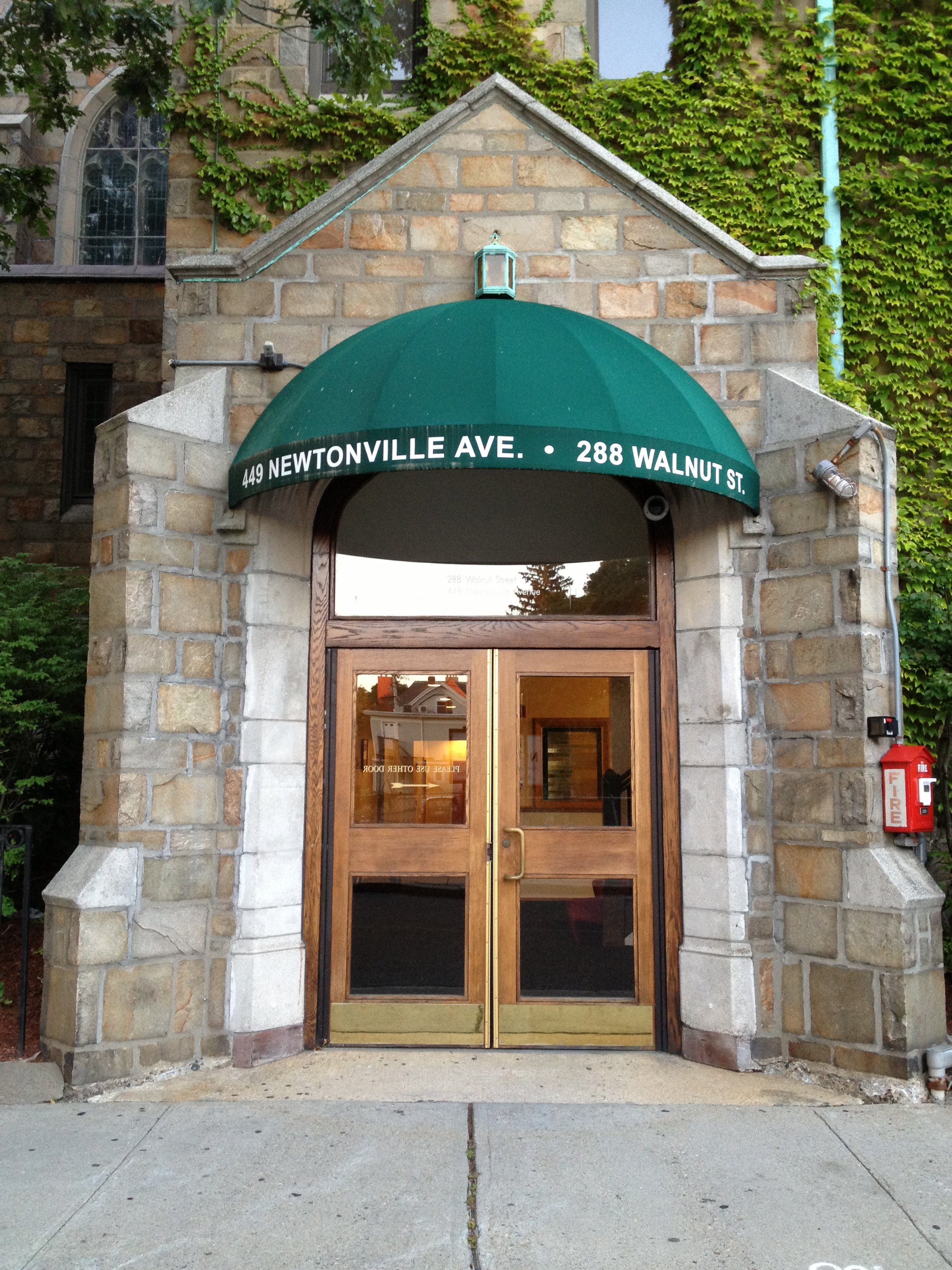 Our building entrance is on Newtonville Ave.